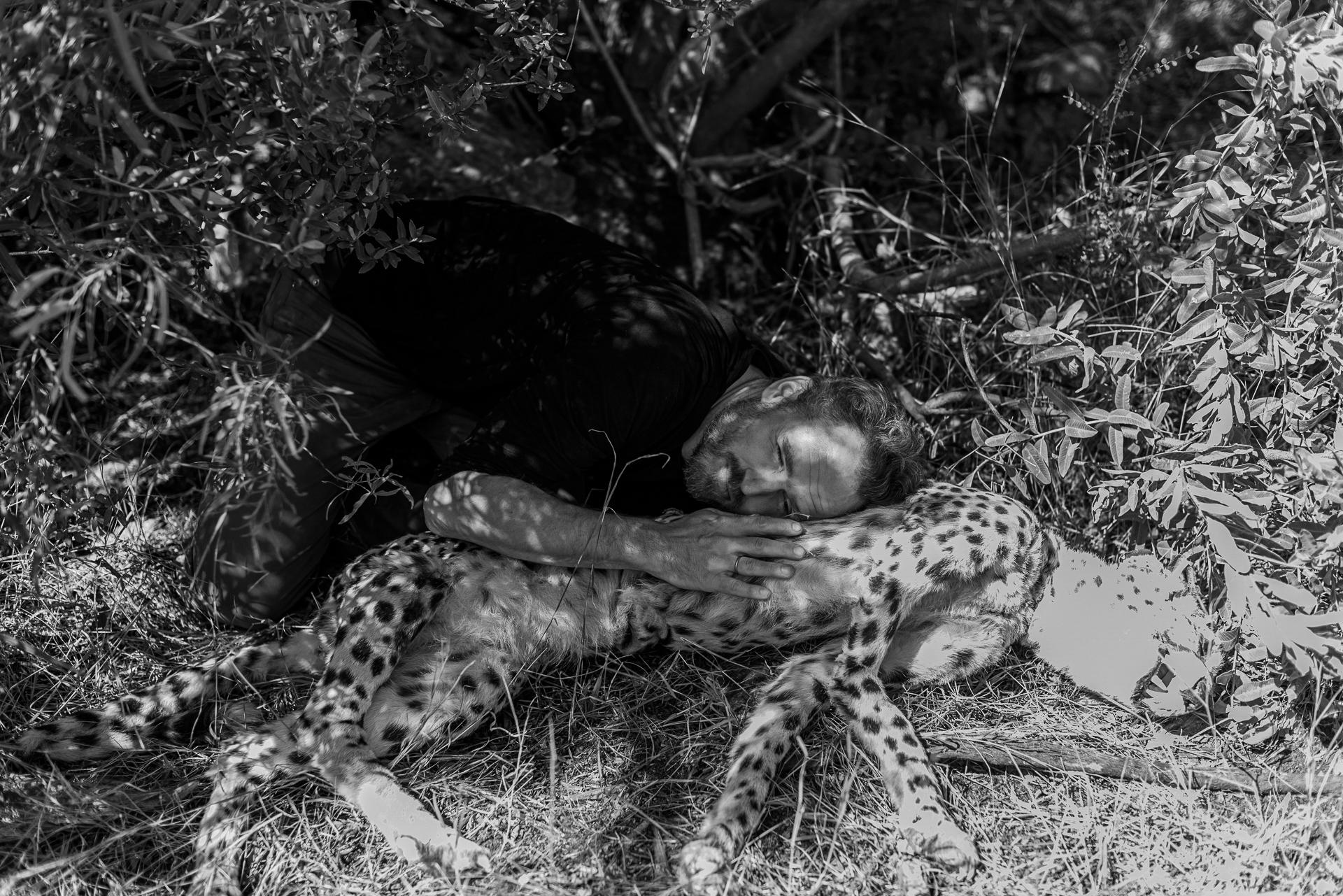 Shoot Day 09 of 19; Sc 3/8 pt 1; Ext. day 5; Cheetah: They; Fritz (Guido Hammesfahr), Kira (Thandi Sebe); find the baby cheetah.