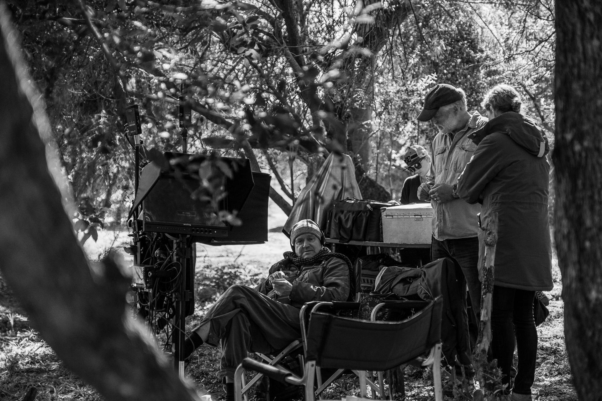 Shoot Day 05 of 23; Sc 58B; Savannah - Hippo Lake: Konrad (FILIP PEETERS) and Anton (LIAM BOSMAN) crawling through the bush.