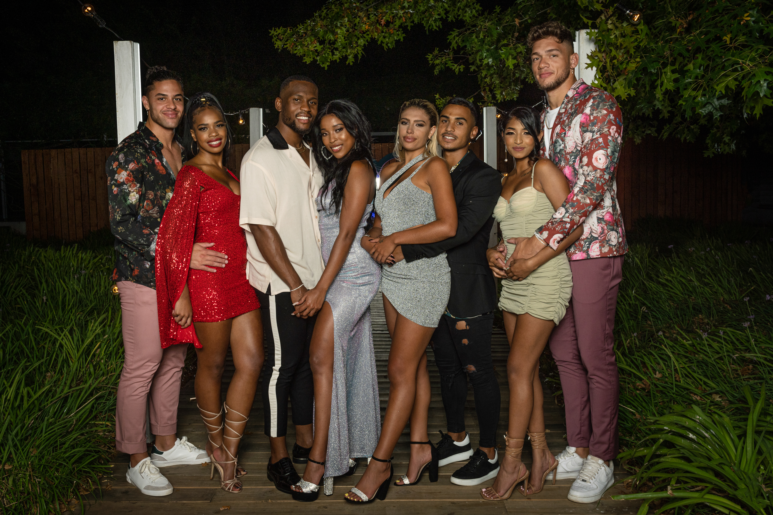 """Electronic Media Network (Pty) (Ltd)1985/002853/06Love Island SA on M-Net 101Pictured: Finale - Ross,Tania, Libho,Thimna, Millie, Asad, Mischka, Xavier.This photograph is copyrighted by M-Net and can only be used for editorial purposes in direct connection with the programme or event mentioned above (""""Permitted Use""""). This photograph will not be used in any other way other than the Permitted Use. Without limitation to the generality of the foregoing, this photograph will not be used, framed or linked in such a way that the photograph appears as part of any unauthorised public domain. This photograph must not be syndicated by any other company, publication or website, or permanently archived without the express written permission by M-Net Publicity."""